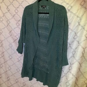 Lightweight knitted teal wrap sweater